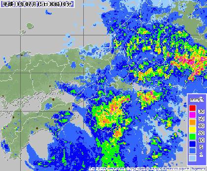 気象庁レーダー・降雨ナウキャスト 2007年7月15日午前0時10分