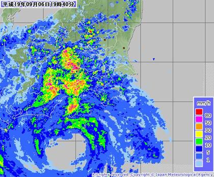 台風9号(レーダー降雨ナウキャスト 2007年9月6日19時40分 気象庁)
