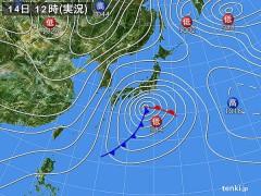 天気図(2013年1月14日正午)