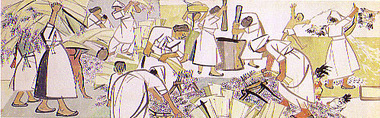 金基昶「収穫(大麦の脱穀)」(1956年)