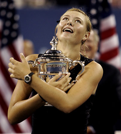 全米テニス・シャラポワが初優勝(9日、ニューヨーク) 【AFP=時事】